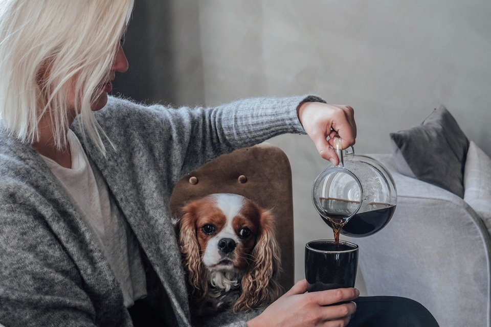 Woman sits on a couch with a dog and pours coffee into a cup.