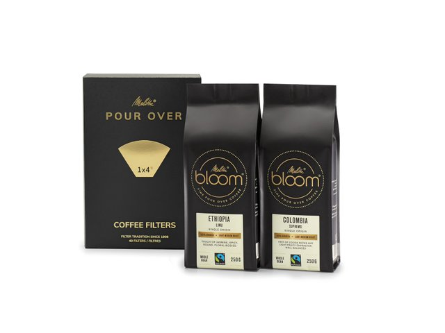 Pour Over accessories: Melitta® BLOOM® special coffee for Pour Over in two variants, plus Melitta® Pour Over 1X4® filter